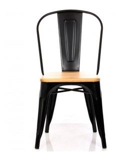 Silla Comedor Tolix Madera Replica Negro Form