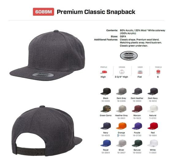 Gorra Snapback Premium Classic Plana Yupoong 6089m (flexfit)