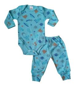 Enxoval Bebê Pijama Inverno Conj. Calça/body Cometa Menino