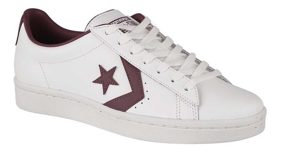 Converse Pro Leather 76 Ox Cuero Vacuno Blanco Con Bordó