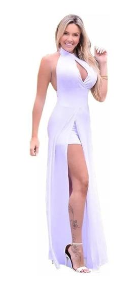 Vestido Feminino Longo Com Fenda E Short
