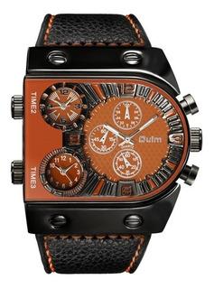 Cod 672 - Reloj Oulm Naranja Malla Cuero - Joyas Margaret