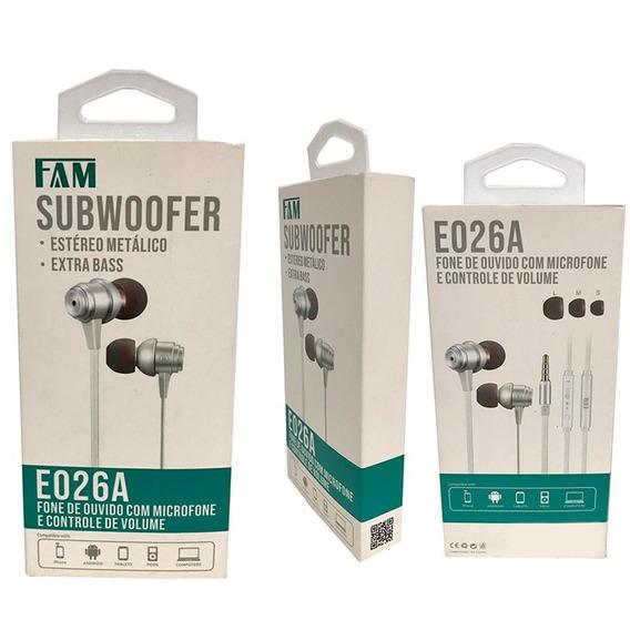 Fone De Ouvido E026a Fam Microfone Extrabass Controle Volume