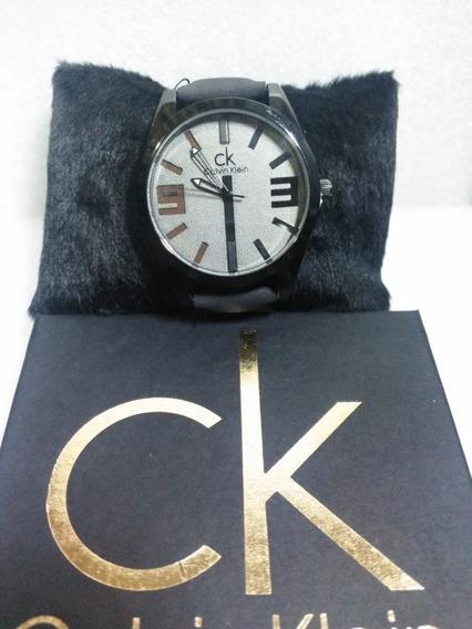 Relógio Masculino Calvin Klein Pulseira De Couro Mais Caixa.