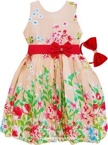 Vestido Infantil Luxo Princesa Realeza Daminha Floral Bolero