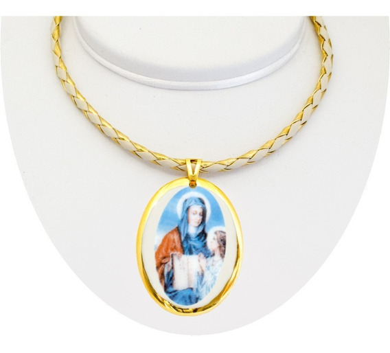 Medalha Santa Ana Ouro Pequena E Corrente Design Medalhas