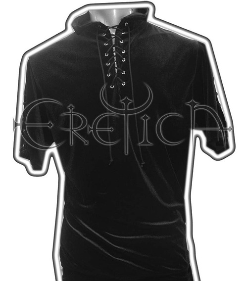 Eretca Ropa Dark-camisa Terciopelo Negro Corta-gotico-rock