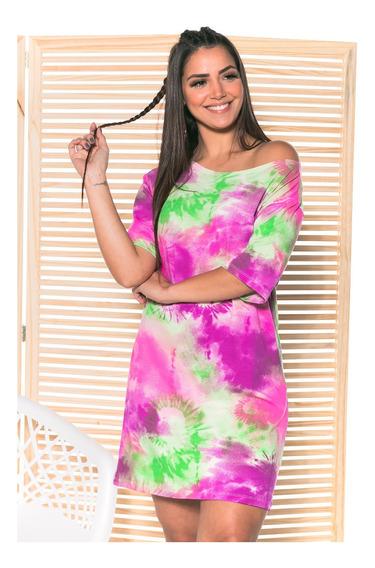 Novo Vestido Camisetão Tie Dye Moda Tendência Feminina