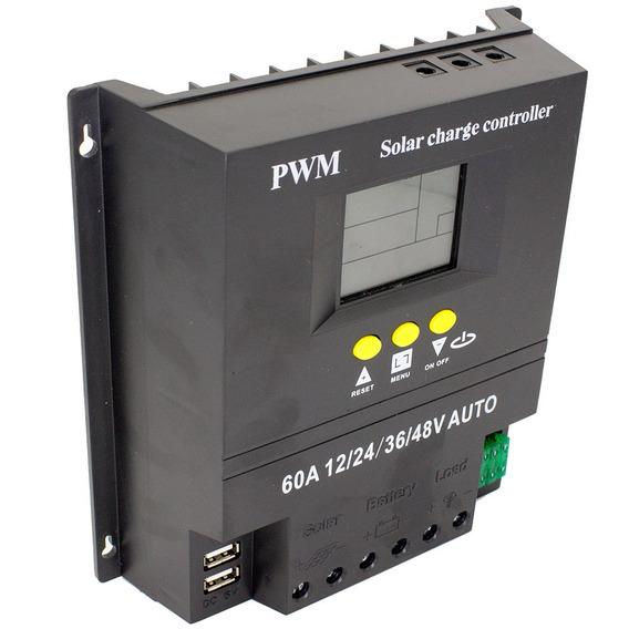 Controlador De Carga 60a 12v 24v 36v 48v Energia Solar 2 Usb