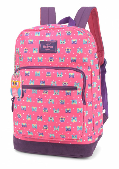 Mochila Luxcel Up4you Coruja- Rosa Ms45577up
