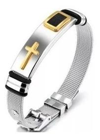 Pulseira Bracelete Masculina Aço 316l Banhada Ouro 18k