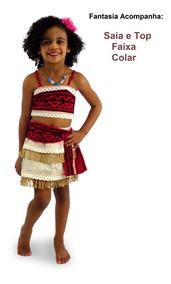 Vestido Fantasia Infantil Princesa Moana Luxo Colar + Frete