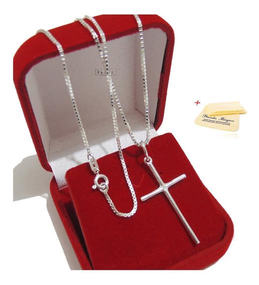 Corrente Veneziana Cordão 70cm Prata Com Crucifixo Promoção