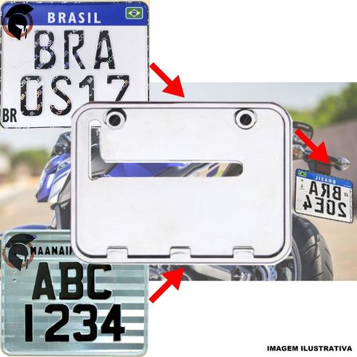 Suporte Protetor Placa Moto Padrão Novo Grande Cromada 2427