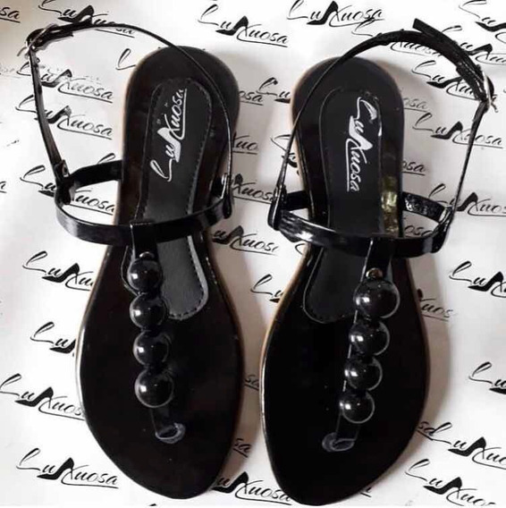 Sandálias Rasteiras Com Esferas Disponível Nos Tam. 33 Ao 38