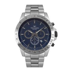 Relógio Technos Masculino Ref: Js25bt/4a Cerâmica Prata