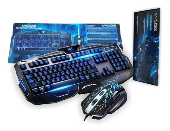 Teclado + Mouse Para Pc. Jugadores Gamin Con Luces
