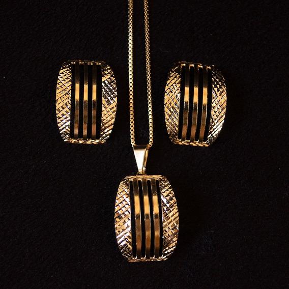 Conjunto Feminino Colar Brinco Banhado Ouro 18k Luxo