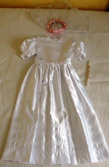 Vestido Primera Comunión Crinolina Tocado Vela Princesa Bibl