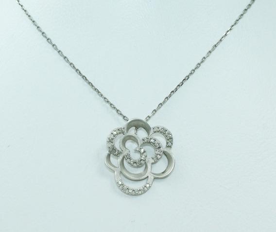 Pocao2005- Colar De Ouro 18k750 Vivara Diamantes Flor C327