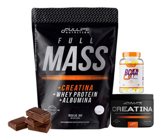 Hipercalórico Full Mass 3kg + Creatina + Bcaa