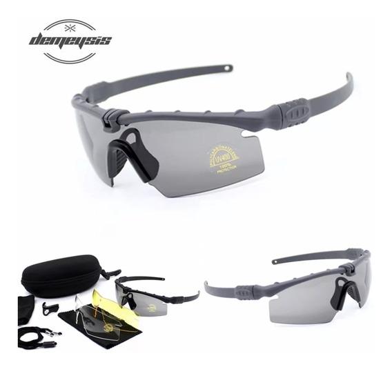Óculos Profissional Tiro Esportivo E Uso Militar 4 Lentes