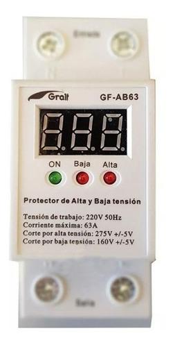 Protector Tension 63a Monofasico Alta / Baja Riel Din Gralf