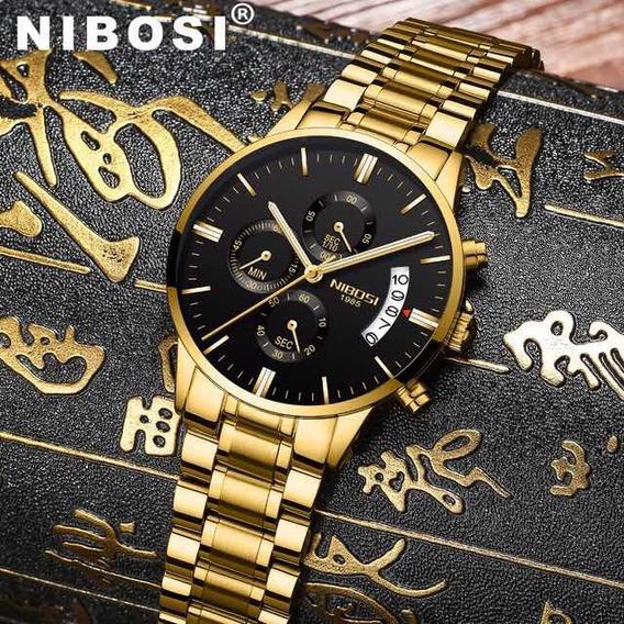 Relógio Quartz Dourado Fundo Preto Nibosi Cronógrafo 3 Atm