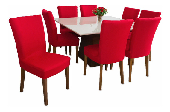 Capa De Cadeira Vermelha Kit 4 Peças Malha Barato Promoção