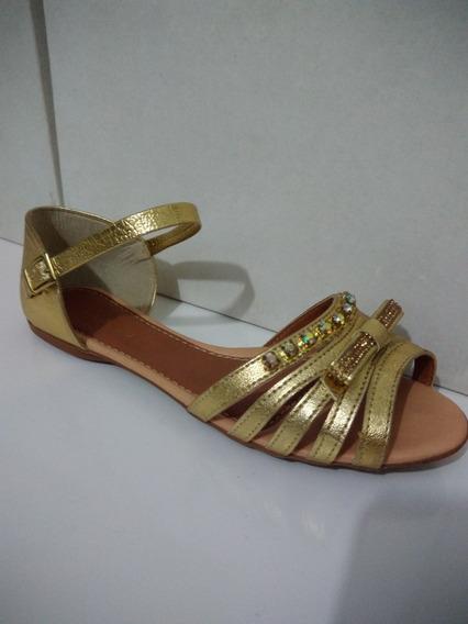 Sandália Rasteirinha Dourada Com Strass