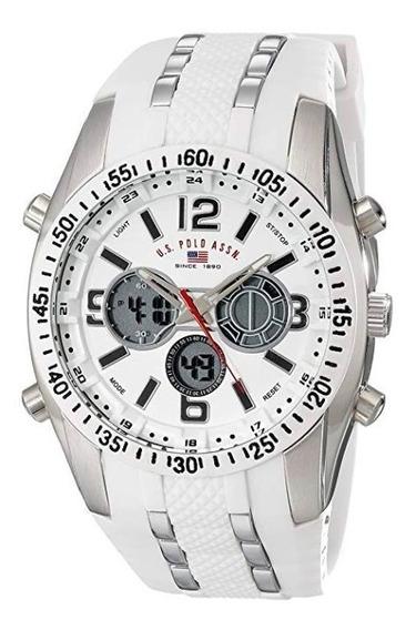 Relógio Masculino Us Polo Assn Modelo Us9282 Branco E Prata