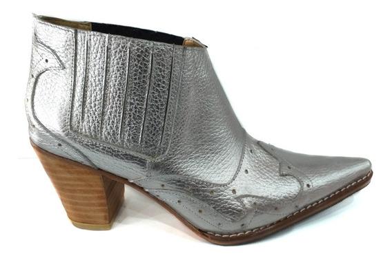 Zapato Mujer Bota Texana 100% Cuero Plateado Temporada 2020