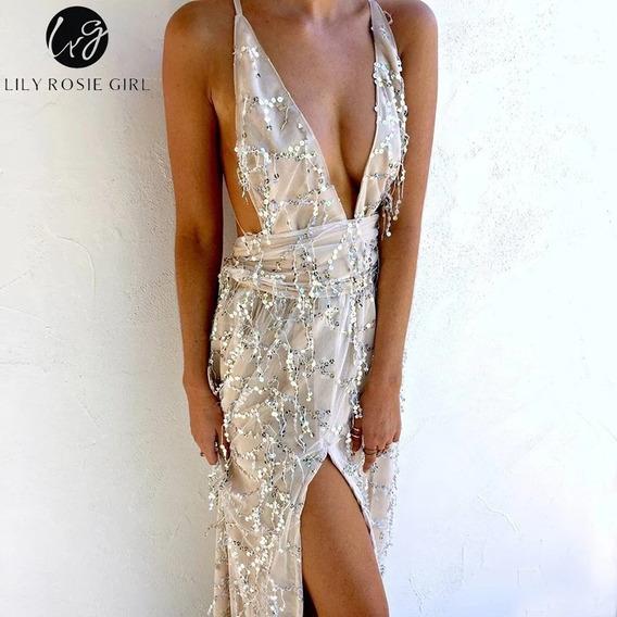 Vestido Largo Fiesta Lentejuelas Eventos Casamientos 15 Noch