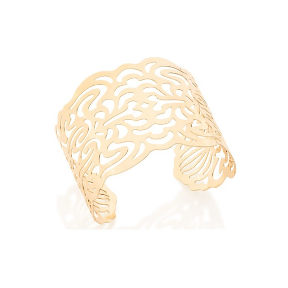 Bracelete Folheado Ouro 18k Não Causa Alergia Largo Vazado