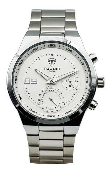 Relogio Cronografo Prata Tuguir 5440g Prata Garantia 1 Ano