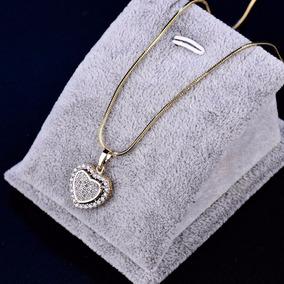 Colar Pingente Coração Safira 18k Ouro Goldfiled J1030 Caixa