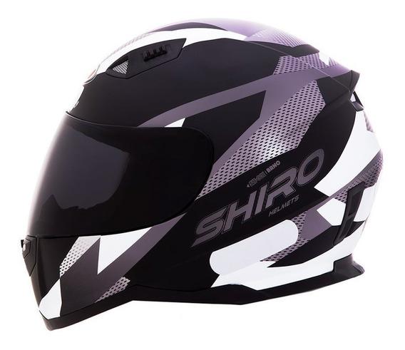 Capacete Motociclista Shiro Sh881 - Brno - Preto Fosco / Branco