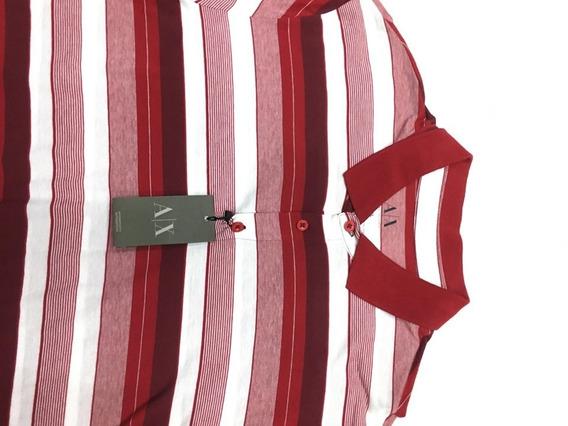 Playera Armani Exchange Color Rojo, Blanco Para Hombre