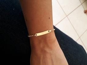 Pulseira Malha Portuguesa Chapinha Ouro 18k 14cm 1,7g