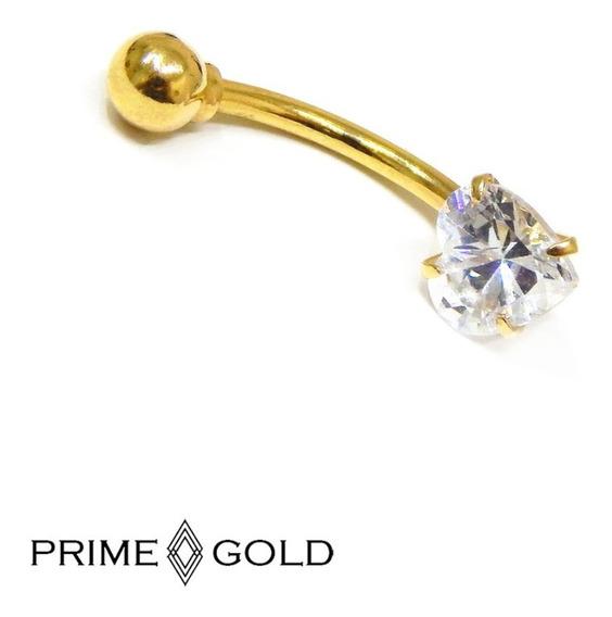 Piercing De Umbigo Em Ouro 18k Coração Zircônia