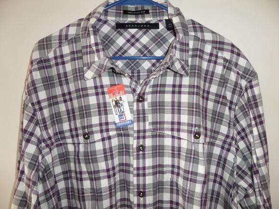 Camisa Sport Sean John Algodón Western Talla Extra Xxl 2xl