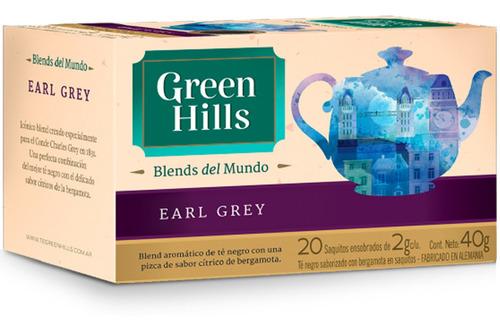 Imagen 1 de 8 de Te Earl Grey Green Hills Blends Saquitos En Sobres