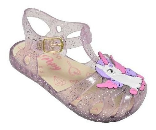 Sandália Infantil Unicórnio Transparente Glitter