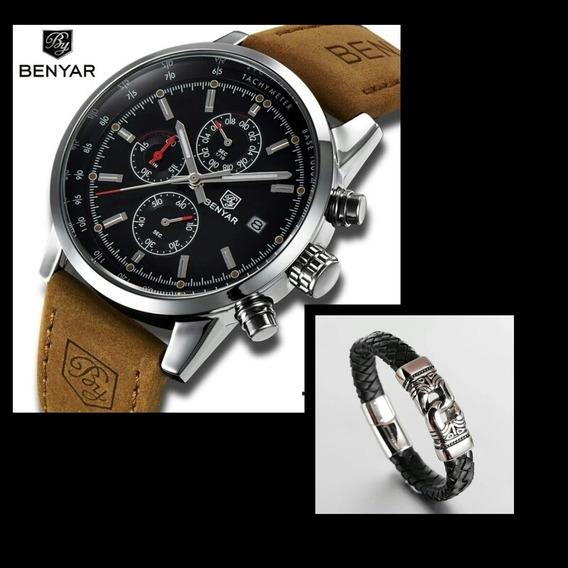 Relógio Benyar Cronógrafo + Pulseira De Couro Diam: 20,5cm