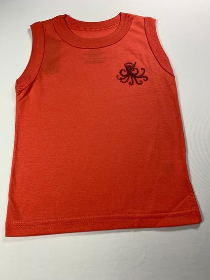 Camiseta Regata Infantil Masculino Laranja/coral Tamanho: 2p