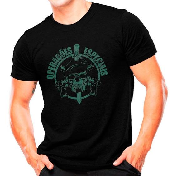 Camiseta Militar Attack Operações Especiais - Preto Com Verd