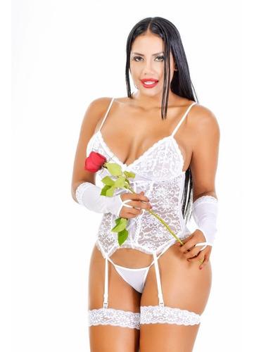 Sexy Babydoll + Hilo + Ligueros + Ligas + Guantes Ref -0552