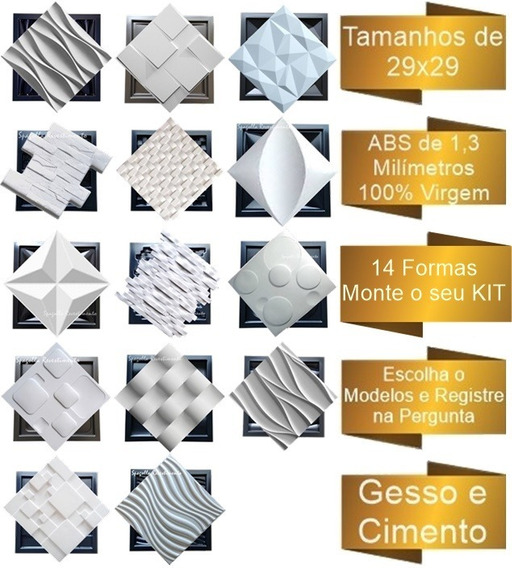 14 Formas De Gesso 3d E Cimento Abs 1,3mm Monte Seu Kit