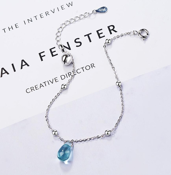 Pulcera Cristal De Gota Azul Plata 925