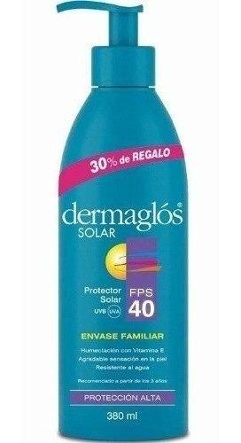 Dermaglos Protector Solar Fps 40 Emulsion X380ml Familiar